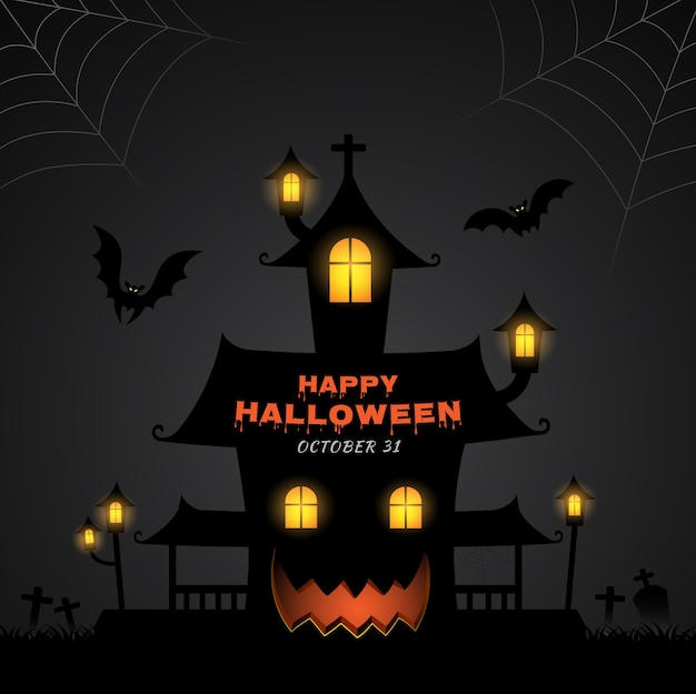 Happy halloween astuce ou traiter la maison hantée et les chauves-souris Vecteur Premium