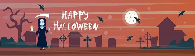 Happy halloween banner death with scythe dans le cimetière de cimetières avec pierres tombales et chauves-souris Vecteur Premium