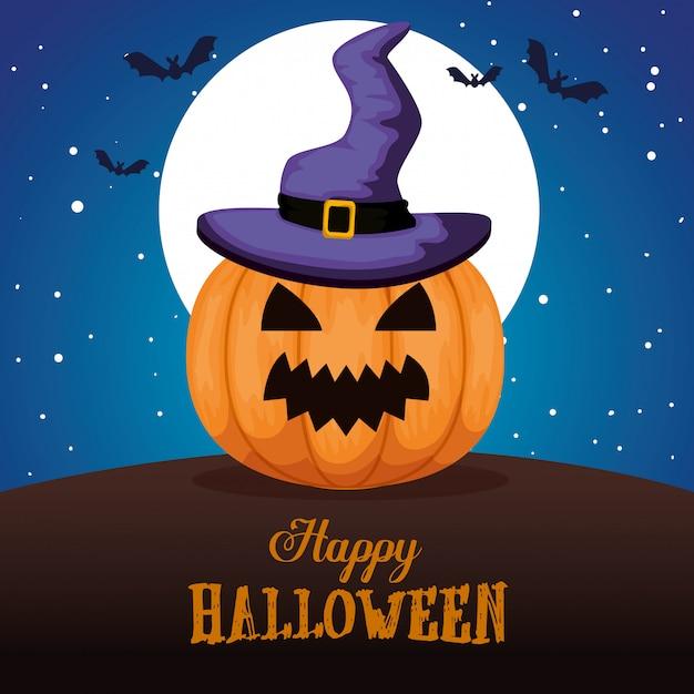 Happy halloween avec chapeau de sorcière citrouille Vecteur gratuit