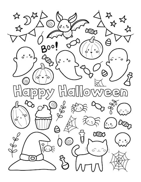 Happy Halloween Coloriage Pour Les Enfants Vecteur Premium