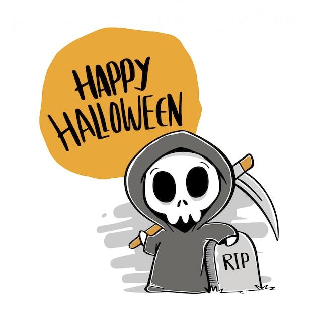 Happy halloween dessinés à la main Vecteur Premium