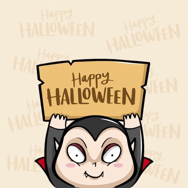 Happy halloween avec dracula vector Vecteur Premium