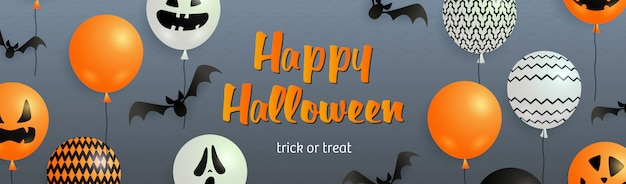 Happy halloween lettrage avec des chauves-souris et des ballons fantômes Vecteur gratuit