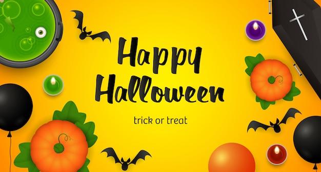 Happy halloween, lettrage trick or treat, chaudron et chauves-souris Vecteur gratuit