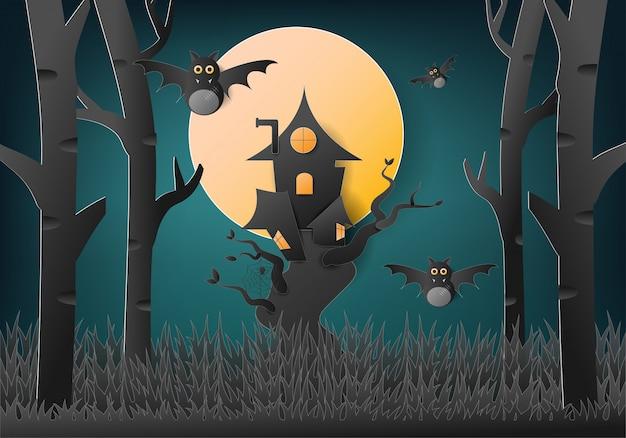 Happy halloween avec maison dans les arbres et fantôme de chauve-souris. Vecteur Premium