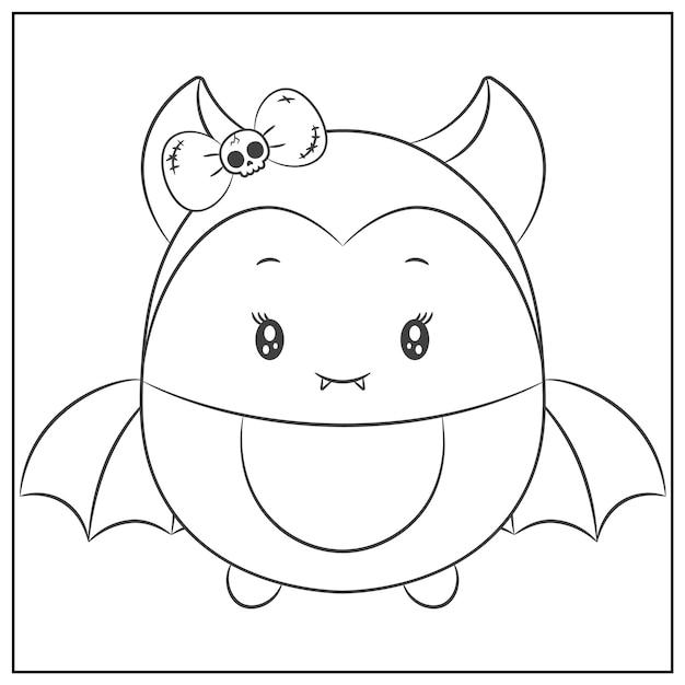Happy Halloween Mignon Dessin De Chauve-souris Femelle à Colorier Vecteur Premium