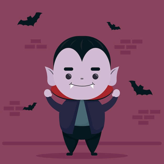 Happy Halloween Mignon Personnage De Dracula Et Chauves-souris Volant Vecteur Premium