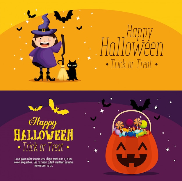 Happy halloween set ensemble de bannière Vecteur gratuit