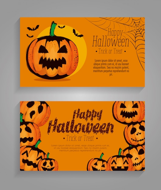 Happy Halloween Set Set De Cartes Vecteur gratuit