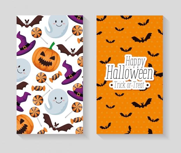 Happy halloween set set de cartes Vecteur gratuit