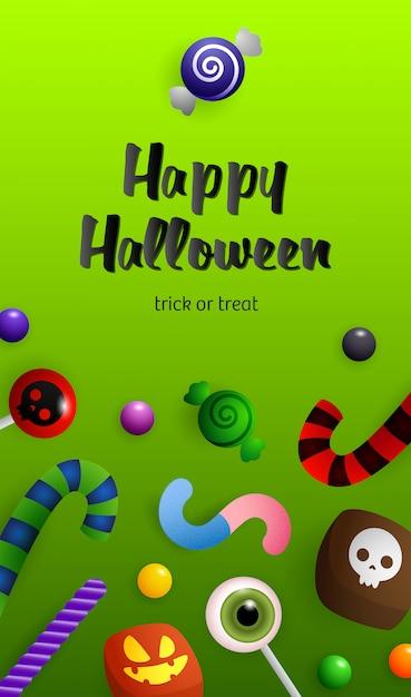 Happy halloween, trick or treat lettrage avec des bonbons Vecteur gratuit