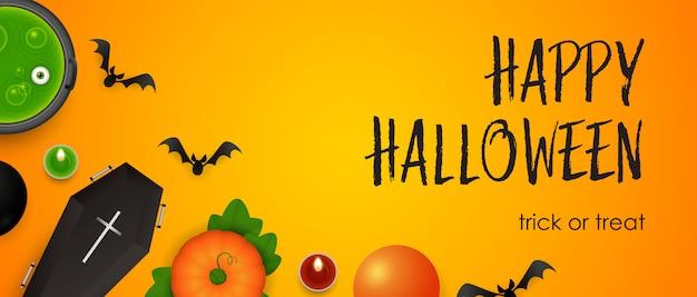 Happy halloween, trick or treat lettrage avec des chauves-souris et de la potion Vecteur gratuit