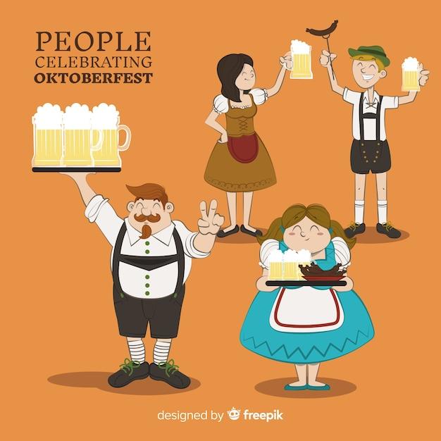 Happy hand drawn people célébrant l'oktoberfest Vecteur gratuit