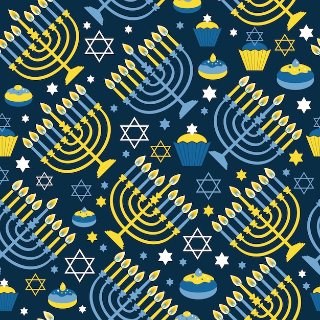 Happy hanukkah impression modèle sans couture avec menorah, david star Vecteur Premium