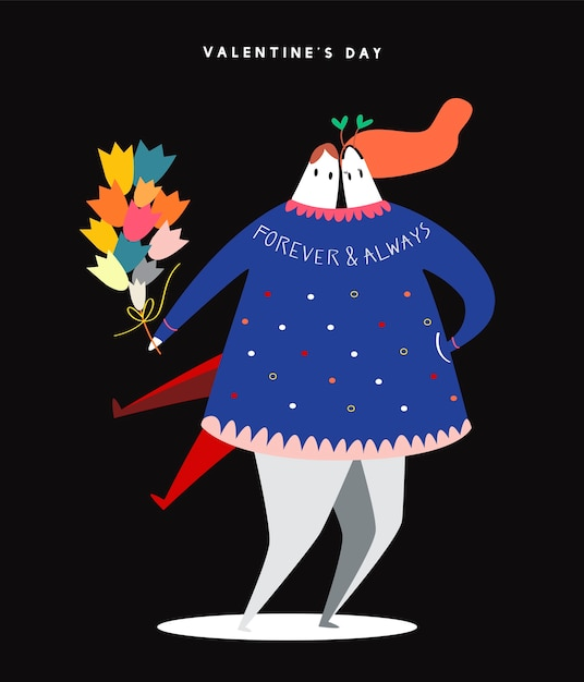 Happy hétérosexuel valentine Vecteur gratuit