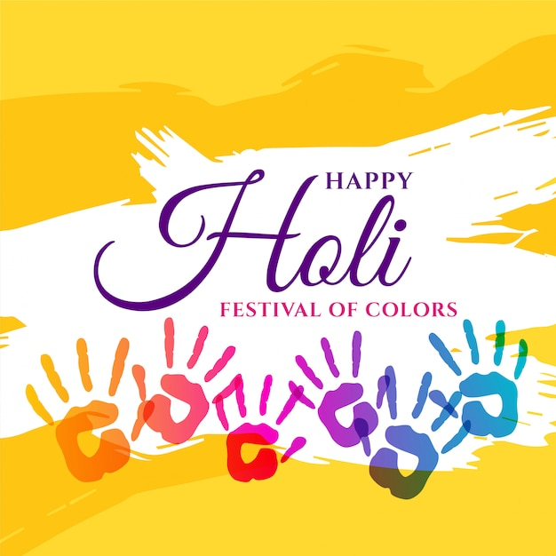 Happy holi affiche de fête avec des mains colorées Vecteur gratuit