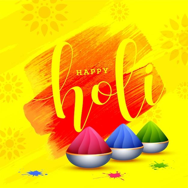 Happy holi design d'affiche avec des bols pleins de couleurs sèches sur yello Vecteur Premium