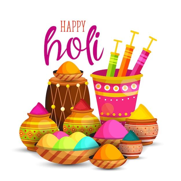 Happy Holi Festival Vecteur Premium
