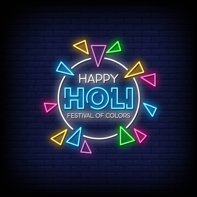 Happy Holi Neon Signs Style Texte Vecteur Premium