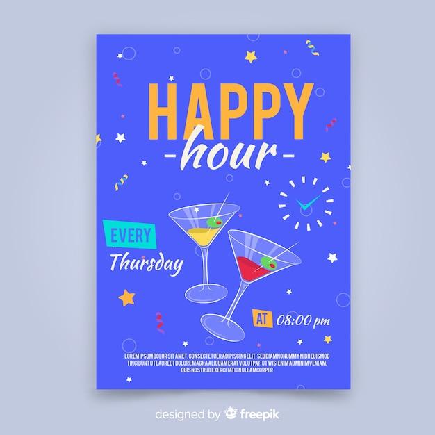 Happy Hour Affiche Avec Des Cocktails Vecteur gratuit
