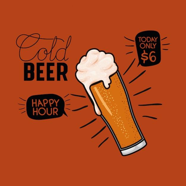 Happy hour bière étiquette avec verre Vecteur Premium