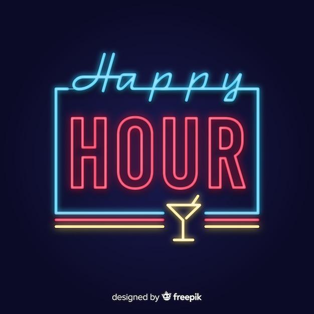 Happy hour enseigne au néon avec coupe en verre Vecteur gratuit