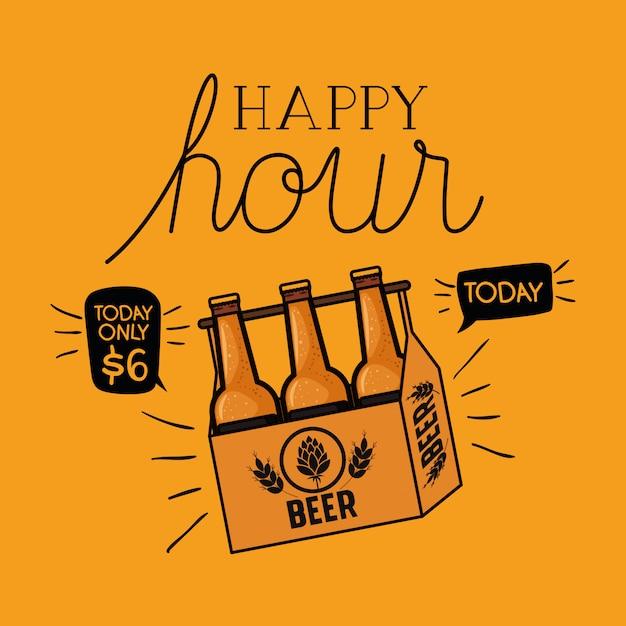 Happy hour étiquette de bières avec des bouteilles dans le panier Vecteur Premium
