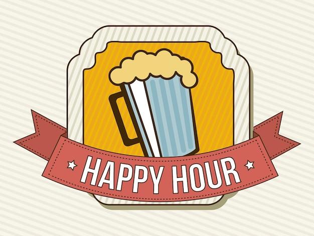 Happy hour label sur illustration vectorielle sur fond beige Vecteur Premium