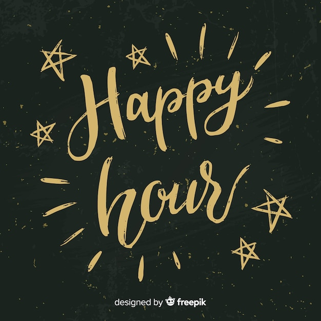 Happy hour lettrage au tableau Vecteur gratuit