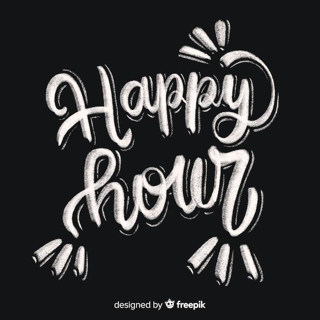 Happy hour lettrage au tableau Vecteur gratuit