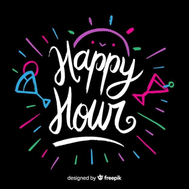 Happy hour lettrage avec des cocktails colorés Vecteur gratuit