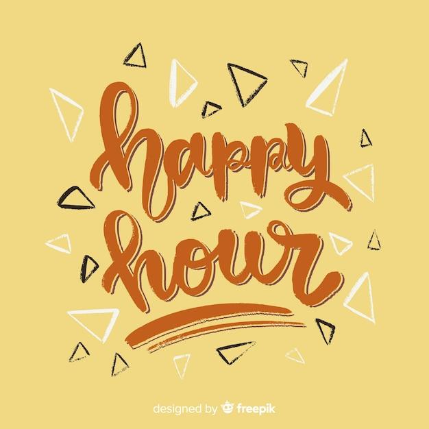 Happy hour lettrage avec fond jaune Vecteur gratuit