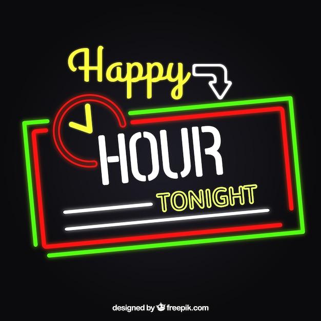 Happy hour néons signe Vecteur gratuit