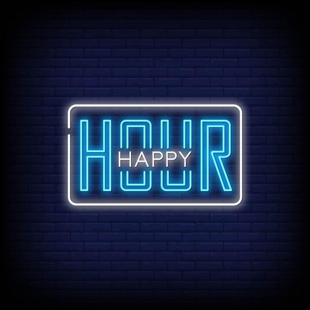 Happy Hour Style De Texte Vecteur Premium