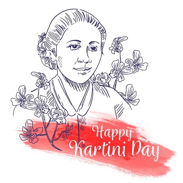 Happy Kartini Day Croquis Dessinés à La Main Vecteur gratuit