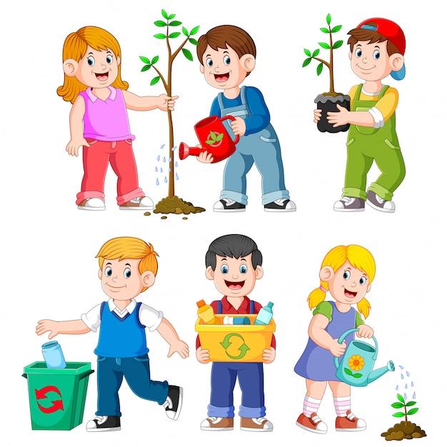 Happy kids gardening illustrations Vecteur Premium