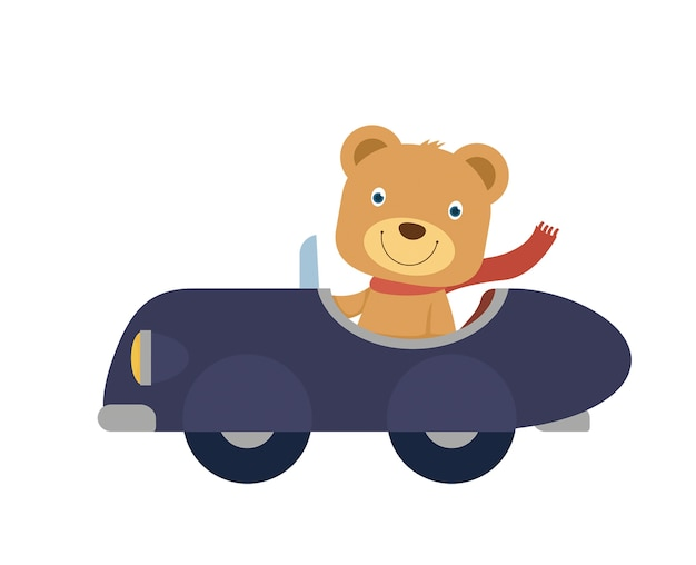 Happy Little Bear Sur Une Voiture Bleue Vecteur Premium