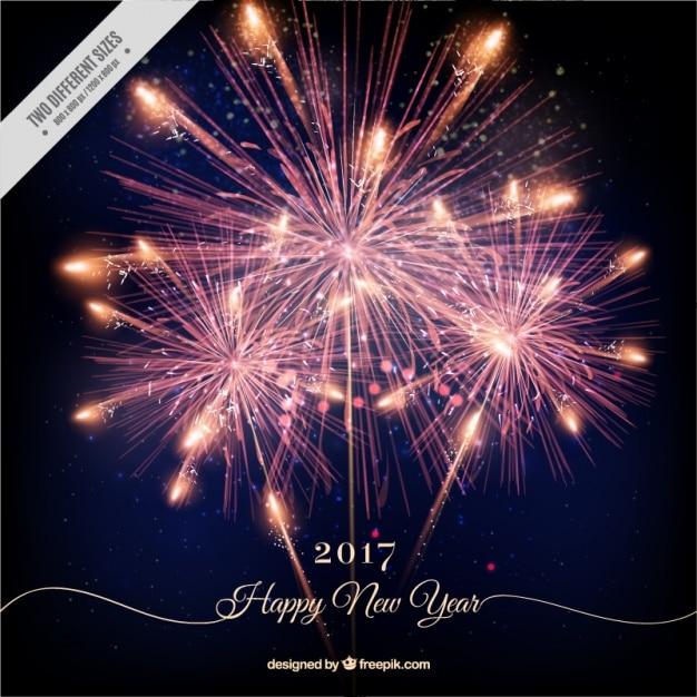 Happy new year background avec feux d'artifice brillant Vecteur gratuit