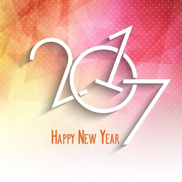 Happy New Year background avec un design low poly Vecteur gratuit