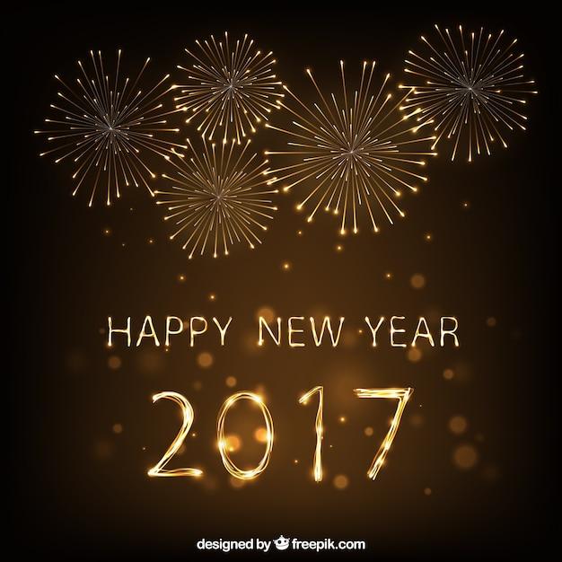 Happy New Yeark 2017 Fireworks Background Vecteur Premium