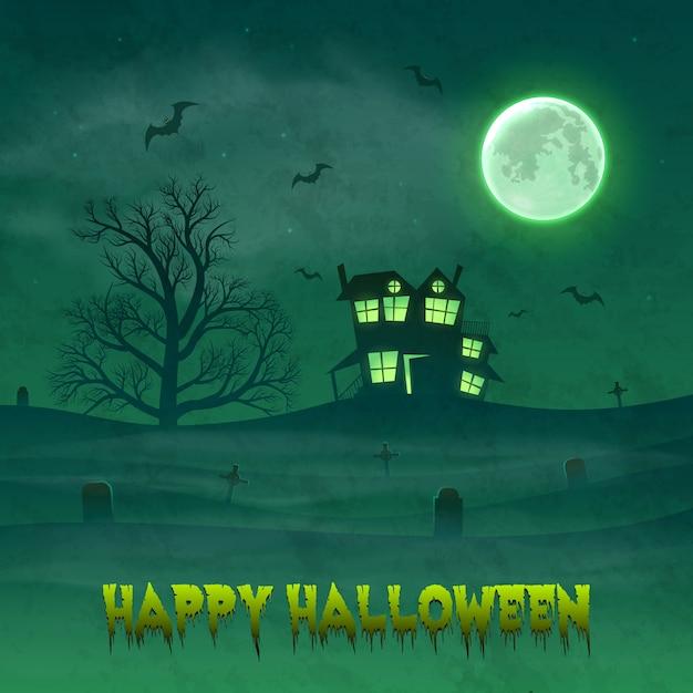 Happy night background de halloween avec la maison hantée. Vecteur Premium