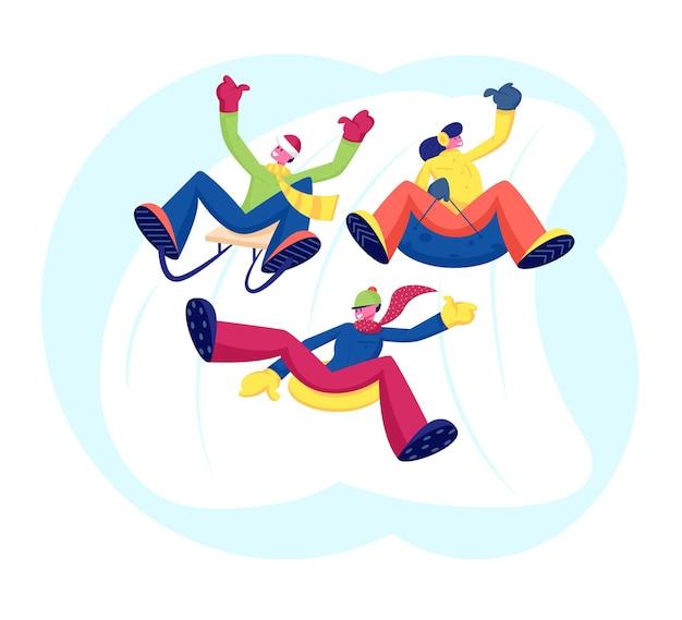 Happy People Friends Company Exécution De Loisirs Activités De Plein Air Riding Downhill. Illustration Plate De Dessin Animé Vecteur Premium
