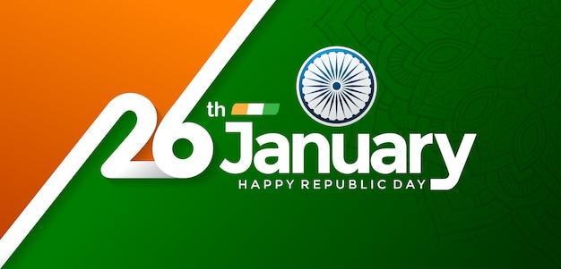 Happy Republic Day Indian 26 Janvier Vecteur Premium