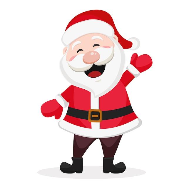 Happy Santa Claus Sourit Et Agite Sa Main Sur Un Fond Blanc. Vecteur Premium
