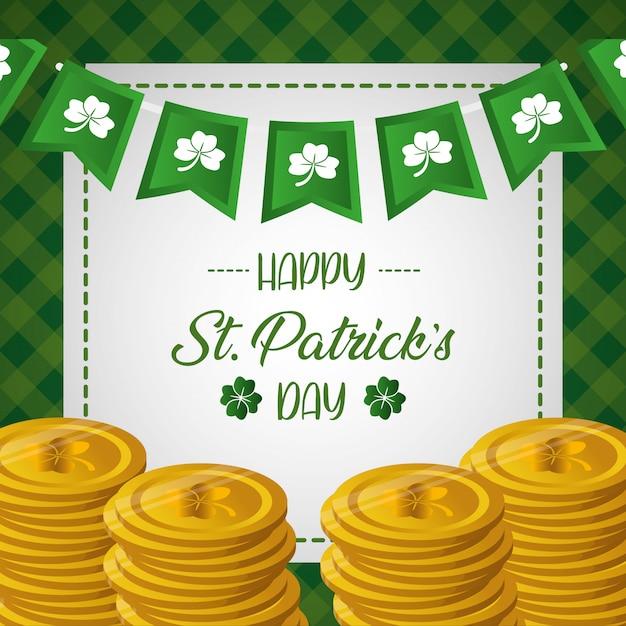 Happy st patricks day carte de voeux avec des pièces Vecteur gratuit
