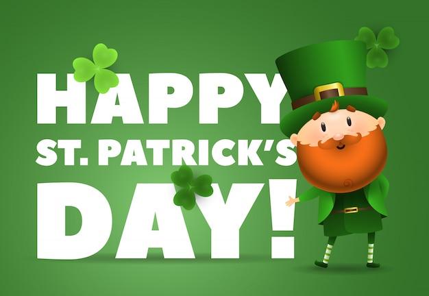 Happy st patricks day lettrage avec lutin au chapeau Vecteur gratuit