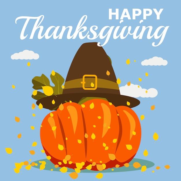 Happy thanksgiving celebration avec cartoon pumpkin et autumn leaves. illustration, design Vecteur Premium