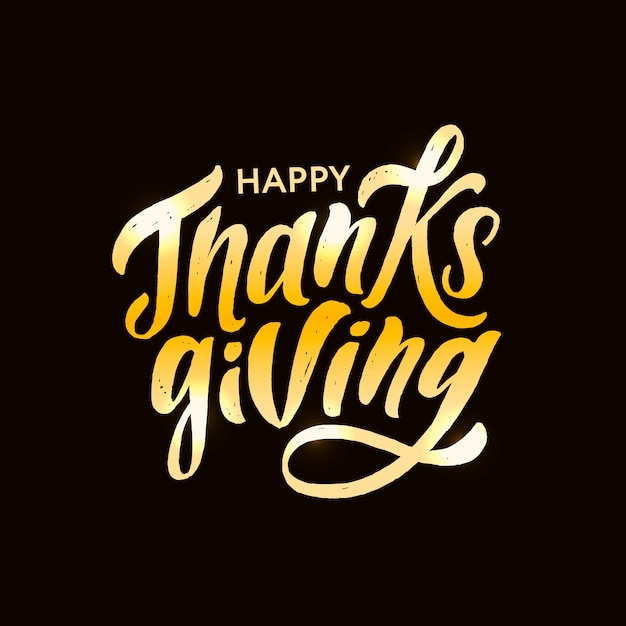 Happy thanksgiving lettrage calligraphie brush sticker vacances de vacances Vecteur Premium
