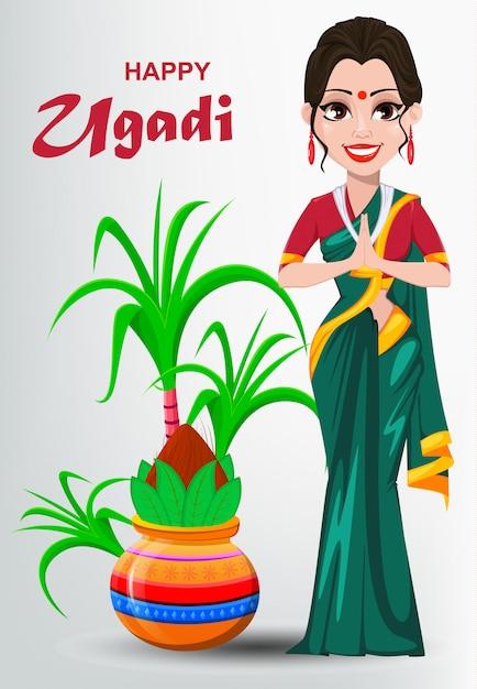 Happy ugadi carte de voeux avec belle femme indienne Vecteur Premium