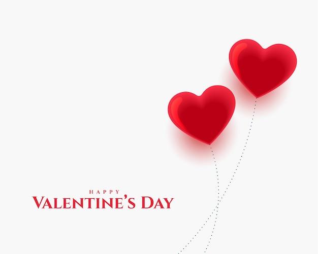 Happy Valentines Day Deux Conception De Cartes De Ballons Coeurs D'amour Vecteur gratuit
